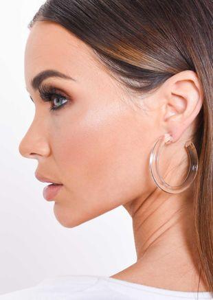 Chunky Clear Resin Hoop Earrings White
