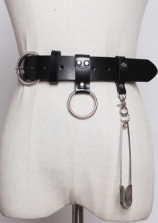 Chunky Faux Leather Metal Pin Detail Belt Black