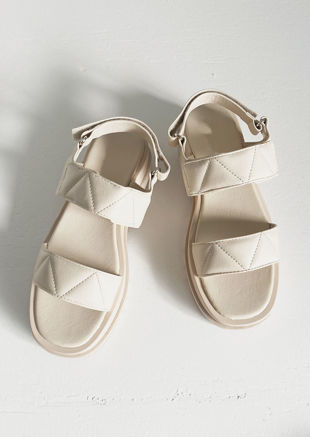 Chunky Padded Faux Leather Strapped Cleated Sandals Beige
