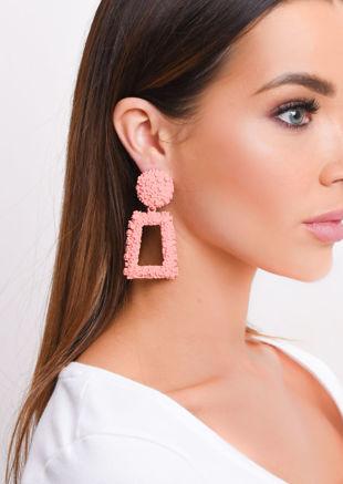 Chunky Geometric Hammered Drop Earrings Coral Orange