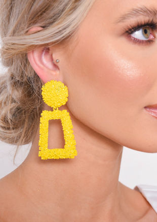 Chunky Geometric Hammered Drop Earrings Yellow