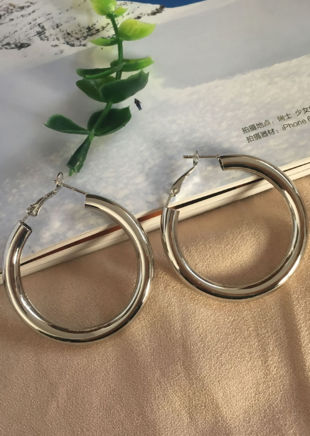 Chunky Hoop Drop Earrings Silver