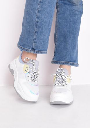 Chunky Iridescent Panel Lace Up Trainers Blue