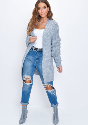 Chunky Knit Sleeves Longline Cardigan Grey