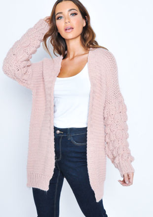 Chunky Knit Sleeves Longline Cardigan Pink