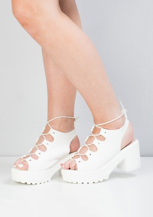 Chunky Lace Up Platform Sandals White