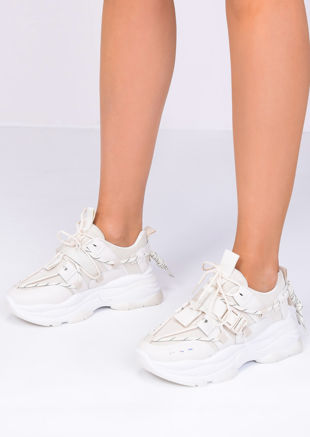 Chunky Sole Lace Up Buckle Trainers Beige