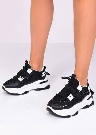 Chunky Sole Lace Up Buckle Trainers Black
