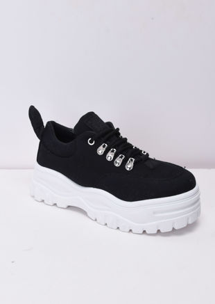 eb5e135a182 Chunky Sole Platform Lace Up Trainers Black