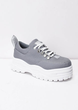 Chunky Sole Platform Lace Up Trainers Grey