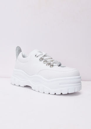 1477dc67e9c Chunky Sole Platform Lace Up Trainers White