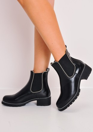 Chunky Studded Chelsea Ankle Boots Black