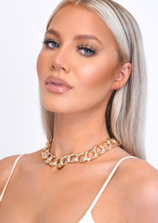 Chunky Textured Interlock Hoop Necklace Gold