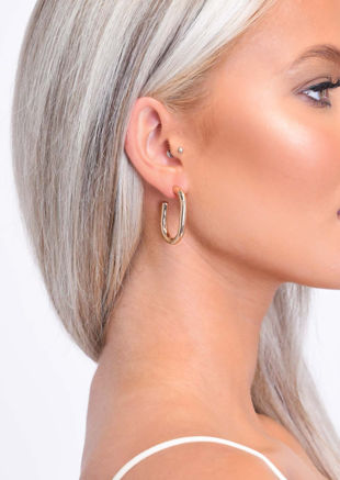 Circle Bend Drop Hoop Earrings Gold