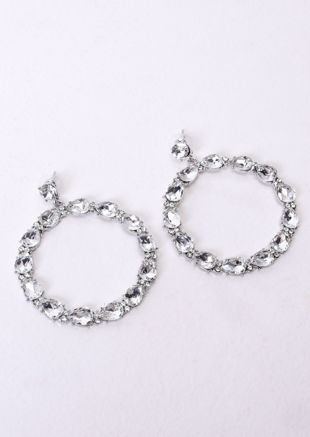 Circular Diamante Drop Earrings Silver