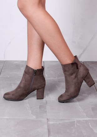 Classic Faux Suede Side Zip Heeled Ankle Boots with Metal Detailing Taupe Grey