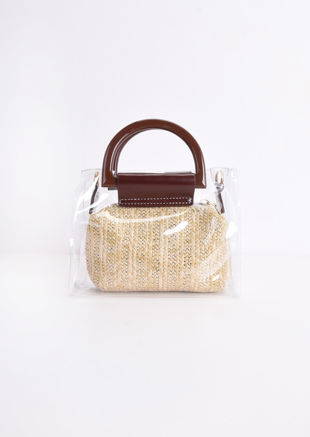 Clear PVC Woven Mini Grab Bag Brown