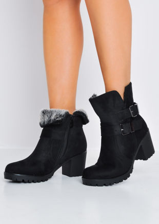 Cleated Sole Block Heel Suede Ankle Boots Black