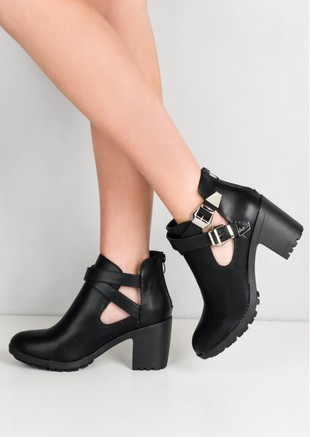 Cleated Sole Cut Out Buckle Ankle Boots Black