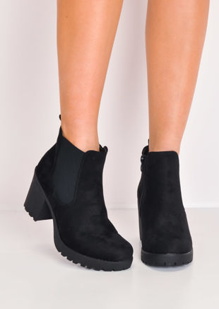 Cleated Sole Faux Suede Chelsea Ankle Boots Black