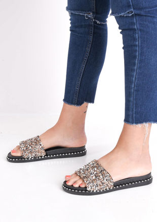 Cluster Diamante Studded Sliders Rose Gold