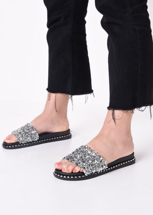 Cluster Diamante Sliders Silver