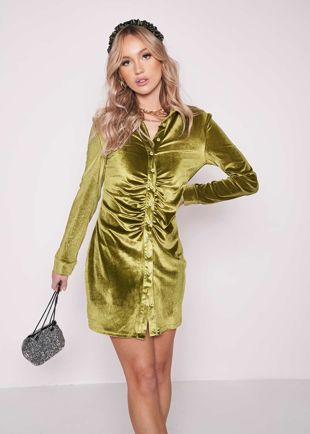 Collared Ruched Button Down Velvet Long Sleeve Shirt Dress Green