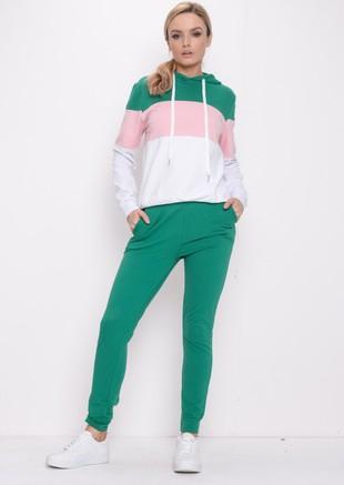 Colour Block Stripe Hooded Loungewear Set Green