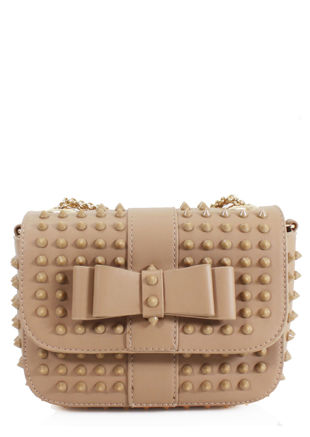 Cone Stud Chain Strapped Rivet Detailing Cross Over Bag Beige