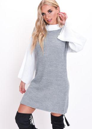 Contrast Knit Jumper Dress Grey
