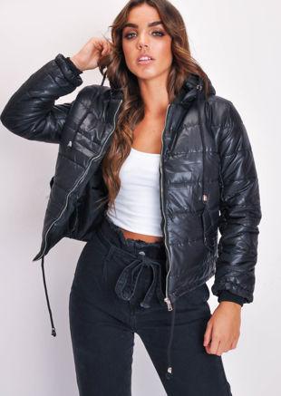 Crop Padded Hooded Puffer Coat Black