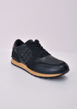 Contrast Sole Studded Lace Up Trainers Black