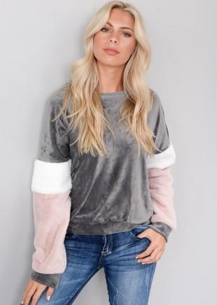 Contrast Stripe Velour Faux Fur Sweater Jumper Grey