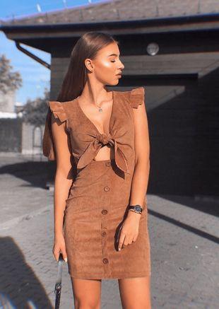 Corduroy Button Through Front Warp Bow Frill Mini Dress Brown