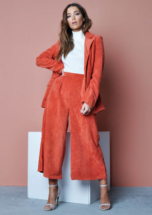 Corduroy Pleated Culotte Trousers Orange