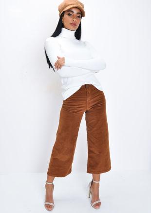 Corduroy Wide Leg Trousers Brown