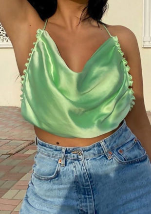 Cowl Neck Backless Back Tie Crop Top Green