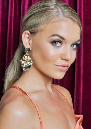 Crinkle Drop Earrings Gold