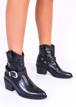 Croc Buckle Studded Western Cowboy Ankle Boots Black