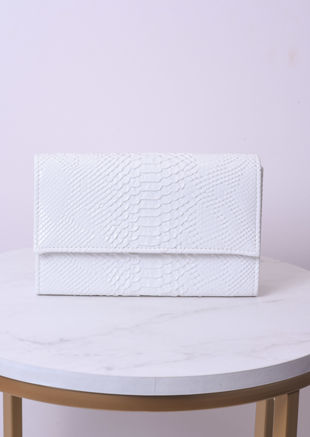 Croc Embossed Mini Clutch Bag With Detachable Chain White