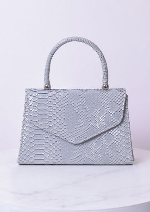 Croc Embossed Mini Envelope Bag Grey