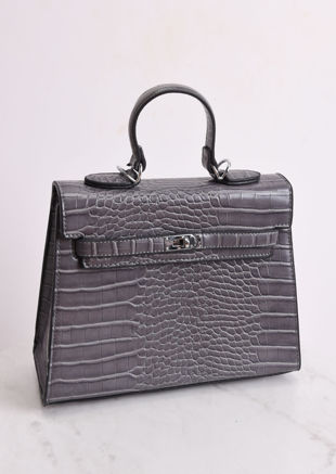 Croc Embossed Mini Tote Bag Grey