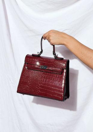 Croc Embossed Mini Tote Bag Red