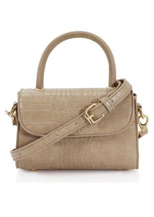 Croc Faux Leather Mini Envelope Tote Bag Beige
