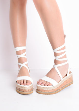 a59561f411 Leather Lace Up Braided Cork Wedge Flat Espadrille Sandals White