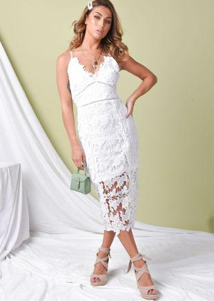 Crochet Bodycon Midi Dress White