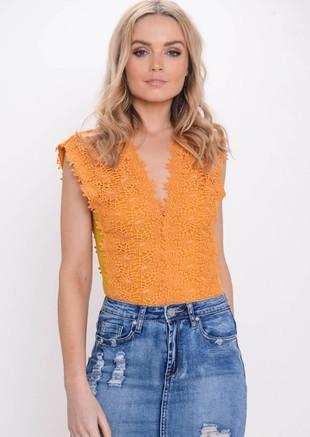 Crochet Floral Lace Plunge Bodysuit Mustard