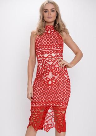 Crochet Lace High Neck Midi Dress Red