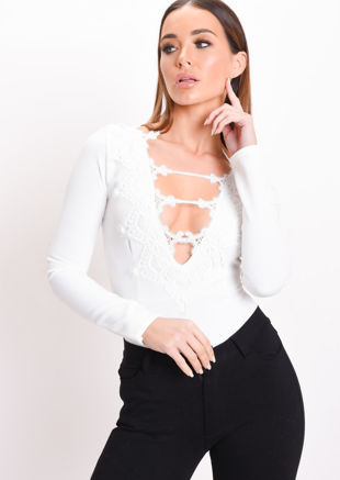 Crochet Lace Plunge Long Sleeve Bodysuit White