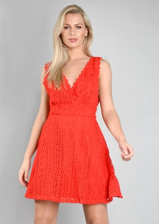Crochet Lace V Neck Skater Dress Red